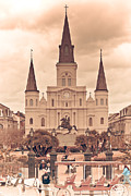 Quarter Horses Framed Prints - Vintage St. Louis Cathedral  Framed Print by Lisa Crosby