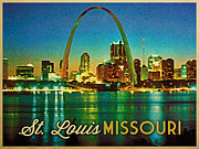 Gateway Digital Art - Vintage St. Louis Skyline by Vintage Poster Designs
