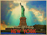 Broadway Digital Art Metal Prints - Vintage Statue Of Liberty NYC Metal Print by Vintage Poster Designs