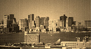 Harbour Mixed Media Prints - Vintage Style Boston Skyline 2 Print by Marjorie Imbeau