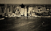 Boston Skyline Art - Vintage Style Boston Skyline by Marjorie Imbeau