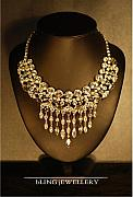 Style Jewelry - Vintage Style Curved Bib Black Diamond and Crystal Necklace by Janine Antulov