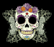 Medieval Metal Prints - Vintage Sugar Skull and Roses No. 2 Metal Print by Tammy Wetzel