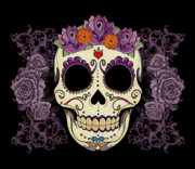 Purple Floral Framed Prints - Vintage Sugar Skull and Roses Framed Print by Tammy Wetzel