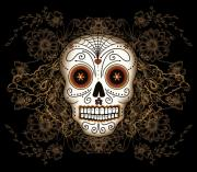 Gold Digital Art Prints - Vintage Sugar Skull Print by Tammy Wetzel