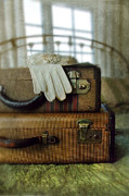 Packing Posters - Vintage Suitcases on Brass Bed Poster by Jill Battaglia
