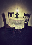 Oil Lamp Posters - Vintage Table and Chairs by Oil Lamp Light Poster by Jill Battaglia