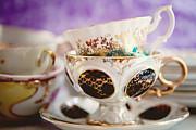 Vintage Teacups Print by Kim Fearheiley