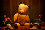 Blocks Posters - Vintage Teddy Bear and Toys Poster by Olivier Le Queinec