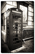 Vintage Telephone Framed Prints - Vintage Telephone Booth Framed Print by John Rizzuto