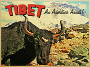 Tibet Digital Art Prints - Vintage Tibet Ox Print by Vintage Poster Designs