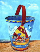 Red Acrylic Prints - Vintage Tin Sand Bucket by Enzie Shahmiri