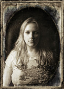 Self-portrait Photos - Vintage Tintype IR Self-Portrait by Amber Flowers