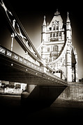 Iconic Design Framed Prints - Vintage Tower Bridge Framed Print by John Rizzuto