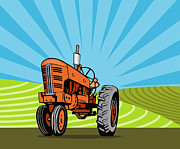 Agriculture Digital Art Metal Prints - Vintage Tractor Retro Metal Print by Aloysius Patrimonio