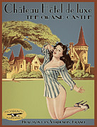 Pin-up Girl Posters - Vintage Travel Poster The Grand Castle Poster by Cinema Photography
