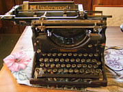 Antiquated Posters - Vintage Underwood Typewriter Poster by Mary Deal