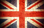 Weathered Metal Prints - Vintage Union Jack Metal Print by Jane Rix