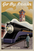 Engine Metal Prints - Vintage Union Station Train Poster Metal Print by Mitch Frey