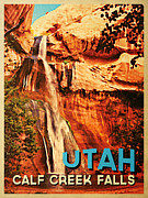 Tourism Digital Art - Vintage Utah Calf Creek Waterfall by Vintage Poster Designs