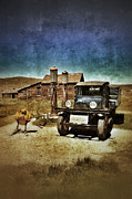 Old Cabins Framed Prints - Vintage Vehicle at Vintage Gas Pumps Framed Print by Jill Battaglia