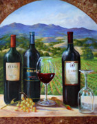 Grapes Painting Posters - Vintage View Poster by Gail Salituri