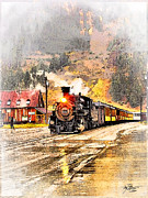 Steam Locomotives Digital Art Posters - Vintage Western Train Poster by Tom Schmidt
