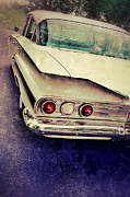 Tail Lights Photos - Vintage White Car by Jill Battaglia