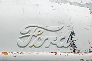 White Pyrography - Vintage White Ford Sign by Anahi DeCanio