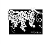 Concord Grapes Art - Vintage White by Kapal-Lou