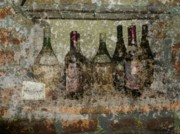 Wine-bottle Framed Prints - Vintage Wine Bottles - Tuscany  Framed Print by Jen White