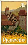 Riquewihr Framed Prints - Vintage Wine Village Travel Poster Framed Print by George Pedro