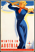 Skiing Poster Prints - Vintage Winter in Austria Travel Poster Print by George Pedro
