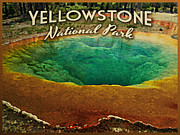 Yellowstone Digital Art Prints - Vintage Yellowstone National Park Print by Vintage Poster Designs
