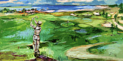 Golfer Paintings - Vintge Golfer by the Sea by Ginette Fine Art LLC Ginette Callaway