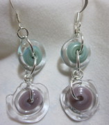 Silver Turquoise Jewelry - Violet and Turquoise Disc Earrings by Janet  Telander