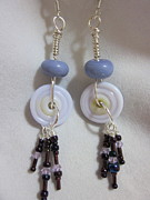 Disc Jewelry - Violet Dangle Earrings by Janet  Telander