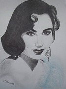 Elizabeth Taylor Drawings - Violet Eyed Beauty by Christy Bruna