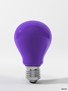 Ligth Bulb Digital Art Prints - Violet Lamp Print by BaloOm Studios