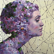 Silver Leaf Paintings - Violet by Oksana Zhelisko