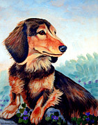 Dachshund Paintings - Violets - Dachshund by Lyn Cook