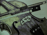 Wood Burn Pyrography Prints - Violin Print by Andrew Siecienski