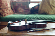 Musical Photos - Violin At Cottage by Madelyn Mulvaney