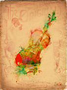Vintage Digital Art Digital Art Metal Prints - Violin Dreams Metal Print by Nikki Marie Smith