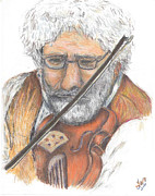 Violin Drawings Prints - Violin Print by Larry Oldham
