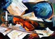 Impressionism Tapestries Textiles Originals - Violin by Leonid Afremov
