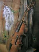 Music Pastels Originals - Violin by Mihai Nistor