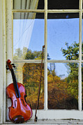 Violin Prints - Violin on a Window Sill Print by Bill Cannon