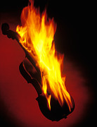 Violin On Fire Print by Garry Gay