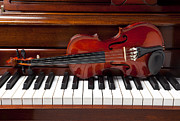 Musical Photo Metal Prints - Violin on piano Metal Print by Garry Gay